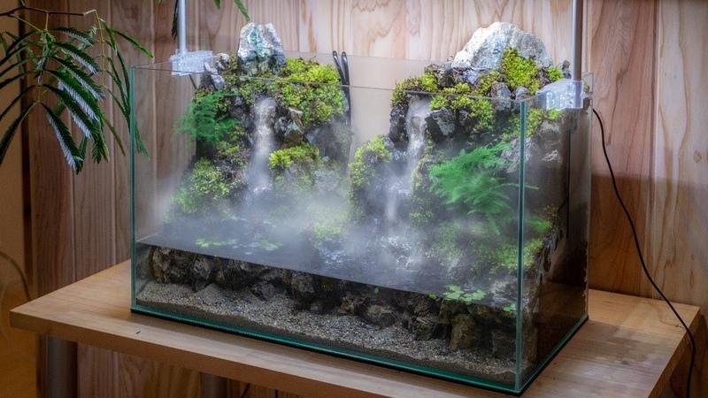 Making an Aquaterrarium with two flowing waterfalls 滝の飛沫を再現したい