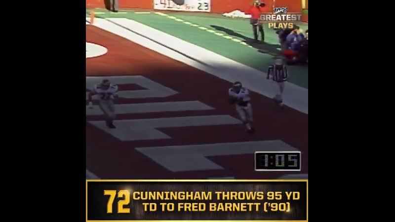 No. 72: Eagles QB Randall Cunningham throws 95-yard TD to Fred Barnett (Dec. 2, 1990) NFL100