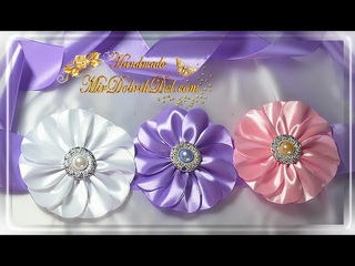ПОЯС с цветами КАНЗАШИ на праздничное платье👗KANZASHI DIY