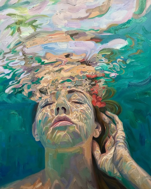 underwater painting of people by houston - 750×938