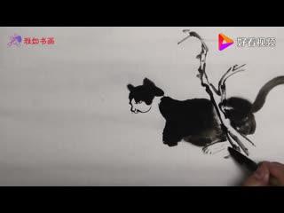Китайская живопись. Обучение рисованию кошки (гохуа)