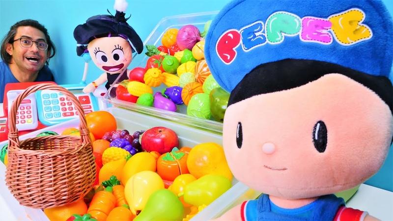 Çizgi film Pepee manava gidip meyve ve sebze alıyor Okul öncesi alışveriş oyunu