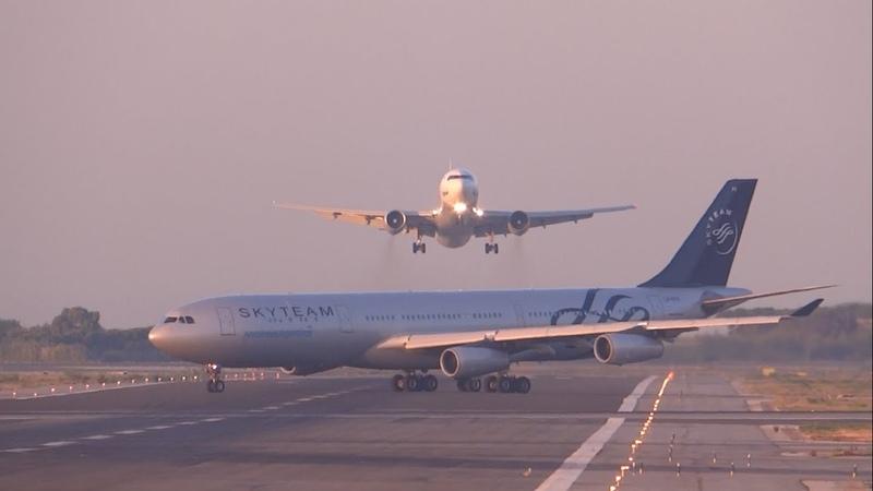 FULL HD UTair Aviation 767 300 NEAR MISS? GO AROUND at Barcelona El Prat