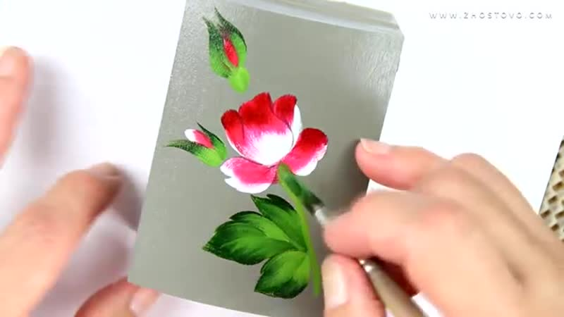 Oil painting miniature flowers Zhostovo