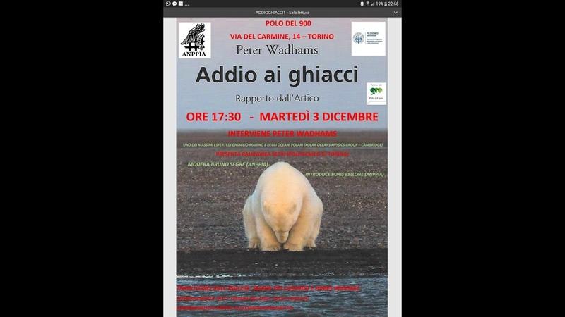 ADDIO AI GHIACCI RAPPORTO DALL'ARTICO INTERVIENE PETER WADHAMS 03 DIC 2019