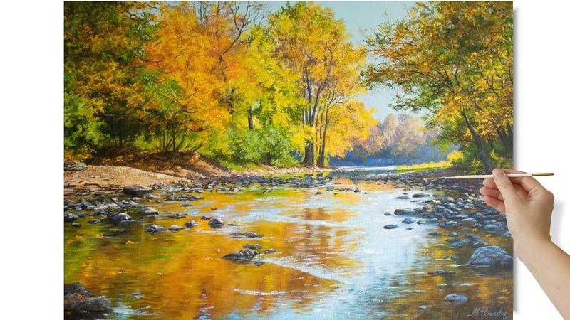 Painting a Fall Landscape with Acrylics Autumn stream Пишем осенний пейзаж акрилом