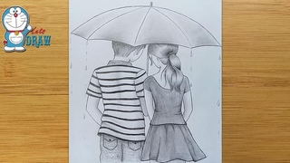 How to draw Couple With Umbrella - step by step || Boy & Girl Pencil Sketch