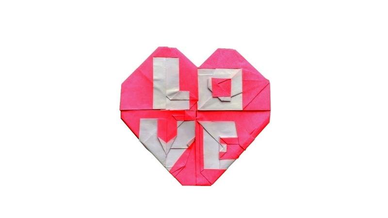 【折り紙】「LOVE」とハートOrigami Heart with LOVE