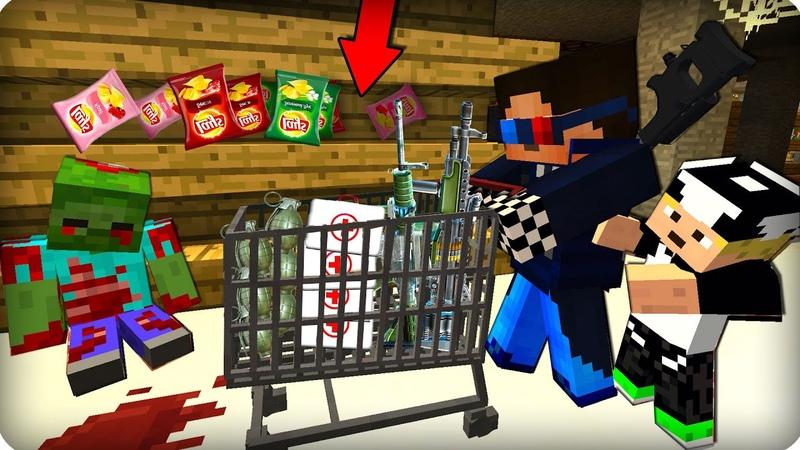 Вылазка в супермаркет! ЧИПСЫ! ЧАСТЬ 60 Зомби апокалипсис в майнкрафт! Minecraft Сериал