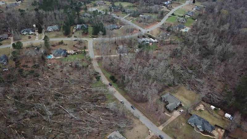 Tornado Damage In Ellerslie Waverly Hall, Georgia