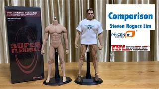 Comparison Phicen TB League M33 1:6 Scale Super Flexible Male Seamless Body