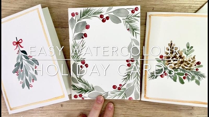 Рождественские открытки акварелью