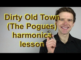 Dirty Old Town (The Pogues) super-easy beginner harmonica lesson (for D diatonic harmonica)