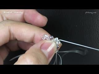 Swarovski beaded ball earrings. Super easy to make for beginners. Beading tutorial