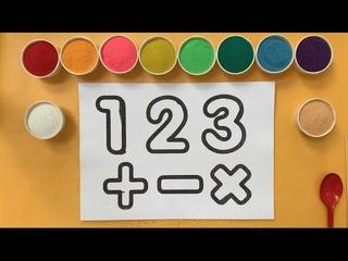 Tô Màu Tranh Cát Học Đếm Chữ Số 1 2 3  - Coloring Sand Painting Learn Number 123 (Ivy Channel)
