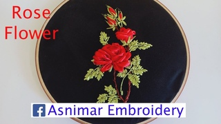 Ribbon Embroidery Flower - Red Rose