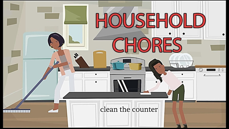 Talking about household chores in English short dialogues