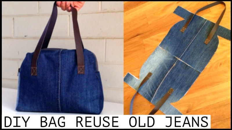 DIY JEANS PURSE BAG ZIPPER HANDBAG OUT OF OLD JEANS BOLSA DIY coubdre un sac 裏地付きハンドバッグの作り方 กระเป๋า