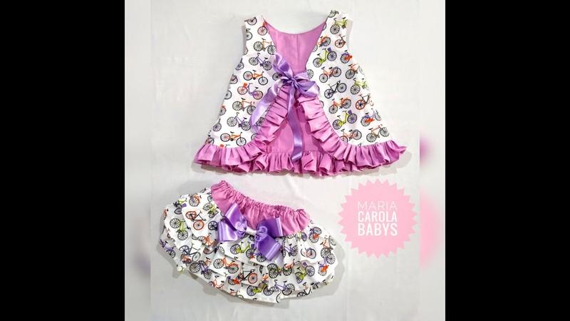 Conjunto Laila bata e calcinha bunda rica veste de 6 meses a 2 anos modelagem gratuita