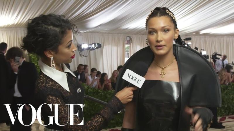 Bella Hadid on Her 10-Pound Sewn-In Veil   Met Gala 2018 With Liza Koshy   Vogue