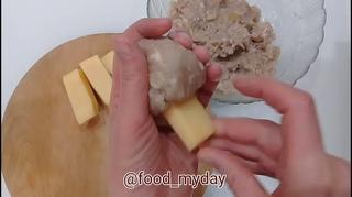 Ужин  Чесночные котлеты с сыром
