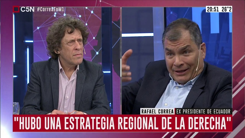 Entrevista a Rafael Correa con Gato Sylvestre en C5N