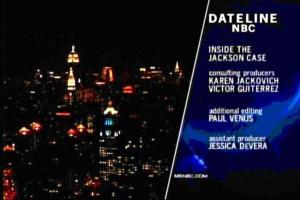 Снимок программы NBC Dateline Inside The Jackson Case, где Виктор Гутьеррес указан в качестве продюсера-консультанта (хотя его имя написано с ошибкой)