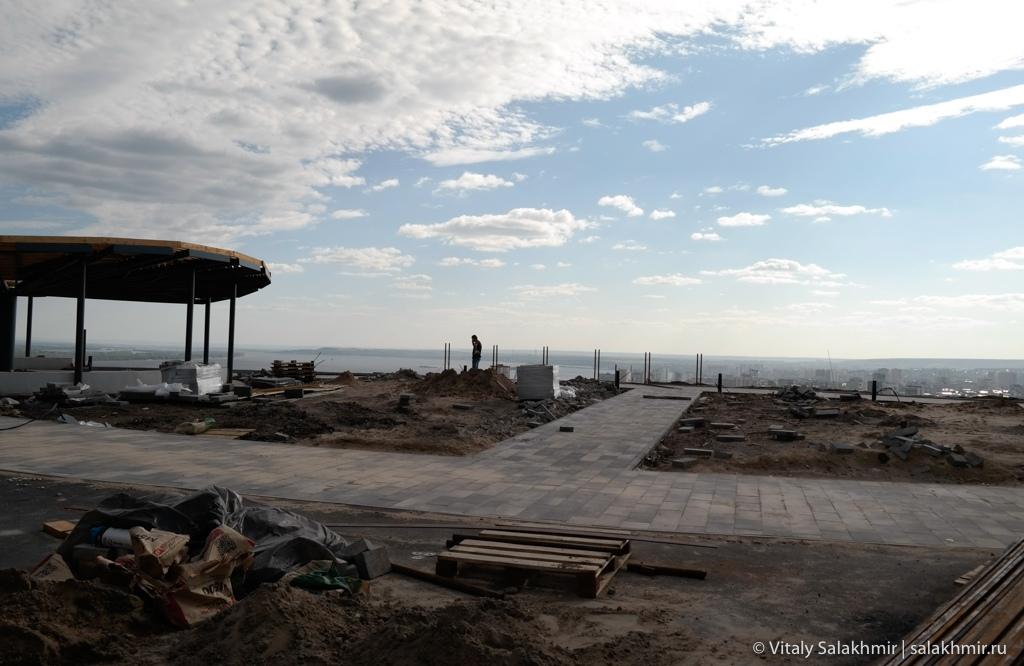 Площадка на Соколовой горе, панорама города, Саратов 2020
