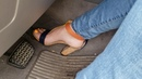 Car stuck gorgeous feet, with high heels and barefoot