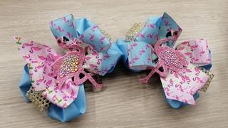 """Бантики """"Фламинго""""/МК шаблона птички/Ribbon BOWS Pink Flamingos"""