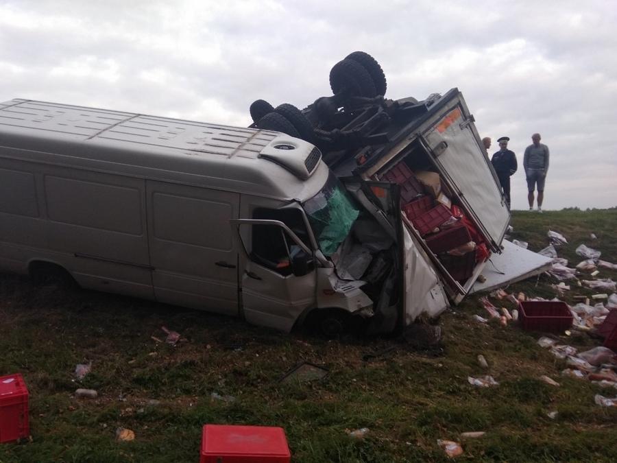 На трассе М1 столкнулись два грузовика с мясной продукцией
