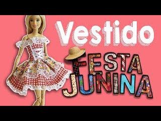 Vestido Festa Junina | Como Fazer Vestido de Boneca Barbie Cherry Miniaturas
