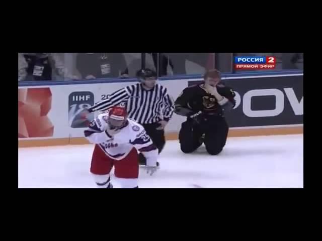 Драка российских хоккеистов с немецкими