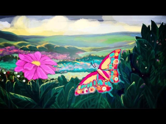 Цветок и бабочка мультфильм
