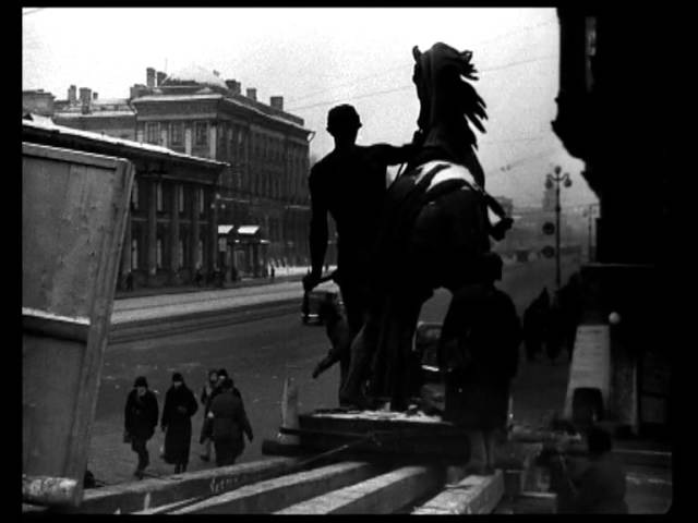 Ленинград октябрь 1941 Снятие коней Клодта с Аничкова моста