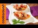 Crostini di pane emmenthal pomodoro e basilico Antipasto vegetariano