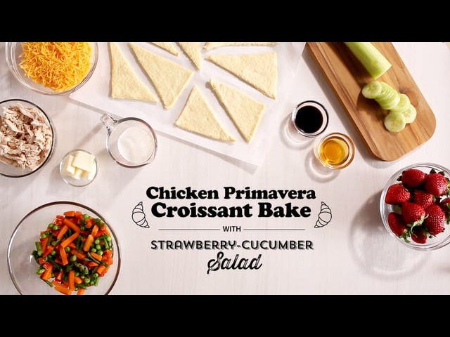 Publix Aprons Cooking School Chicken Primavera Croissant Bake with Strawberry Cucumber Salad
