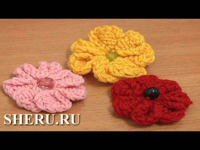 Knitting Flower Tutorial 3 Цветок вязаный спицами