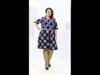 Чудесное платье А-силуэта из трикотажного полотна синего цвета с геометрическим узором клетка - П3-3540/3