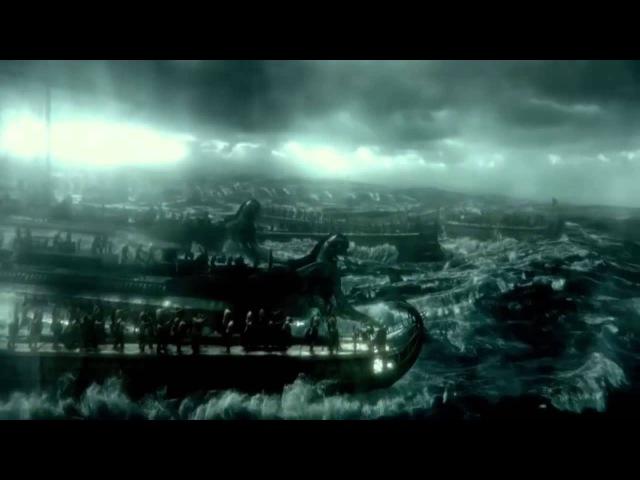 300 Rise Of An Empire, 1st Persian Naval Assault, Persian fleet vs Greek Fleet battle scene YouTub