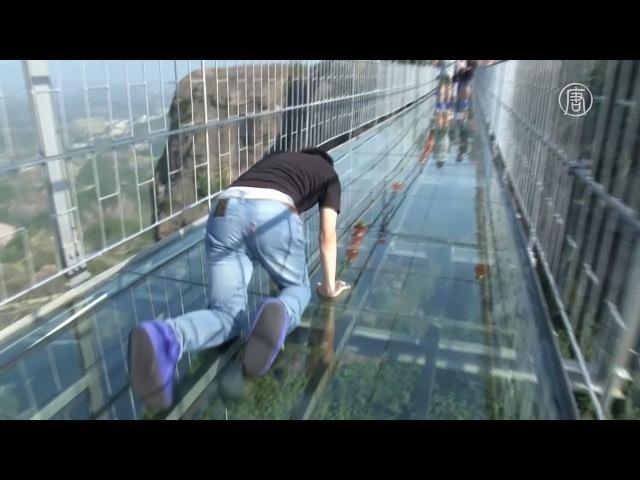 Стекляный мост трескается стекло под ногами у туриста Далее гид упал на колени и закричал от ужаса