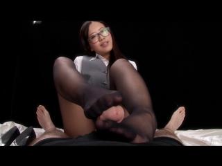 Office girl pantyhose footjob miyuki