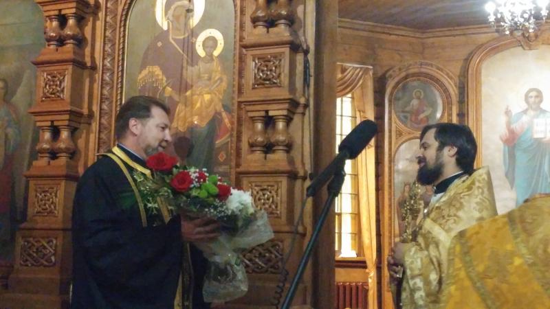 Поздравление с Тезоименитством иерея Сергия Чекоданова на Литургии 8 октября 2017