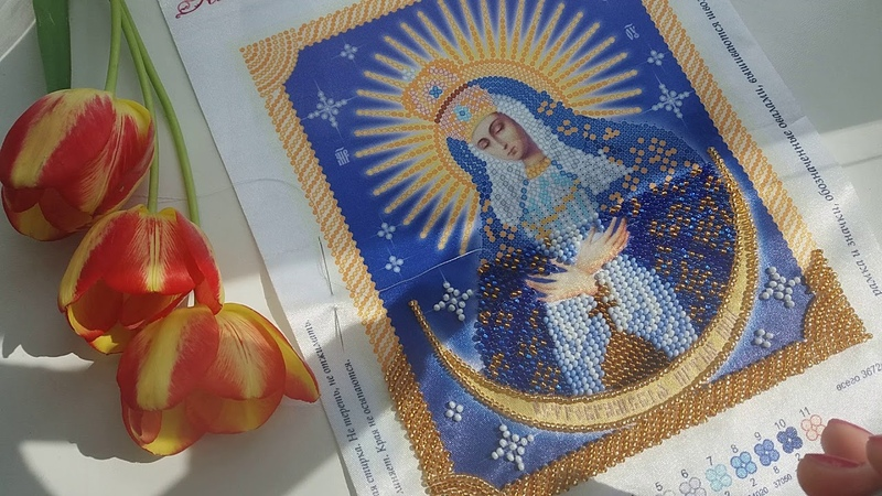 Вышивка бисером процесс. Икона Остробрамская Божья Матерь от ТМ Тэла Артис .
