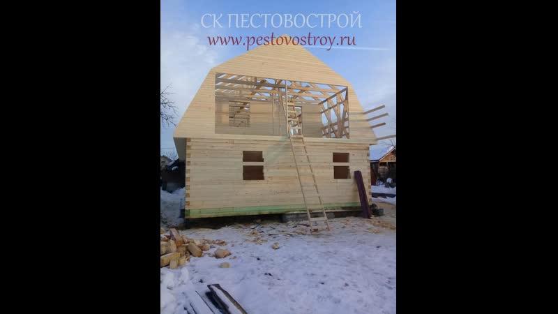 Сруб дома 8х12 из бруса от СК ПЕСТОВОСТРОЙ| видео обзор сруба.