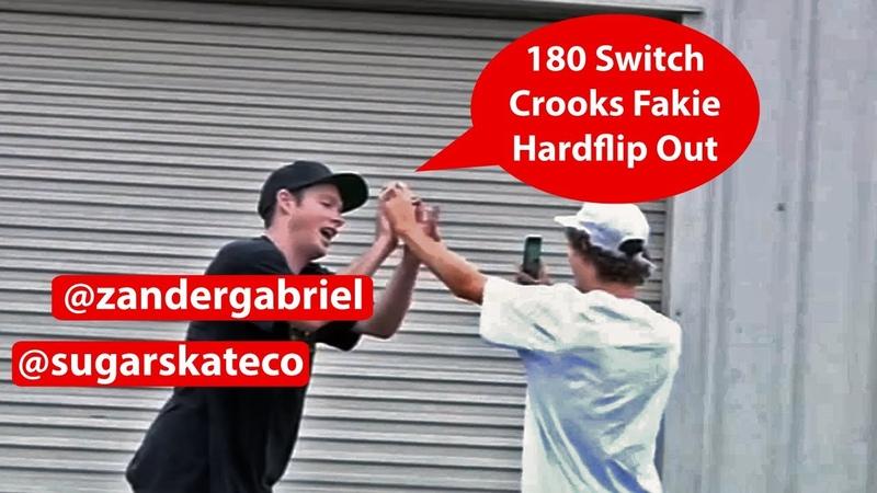 Sugar Skate Co. - Zander Gabriel 180 Switch Crooked Grind Fakie Hardflip