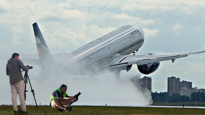 5 Мощных взлетов больших самолетов с воды Боинг 777 747 и другие
