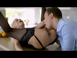 Hungarian blonde in erotic black lingerie is about to get banged hard in the kitchen
