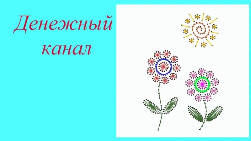 Вышивка простых цветов в технике изонить
