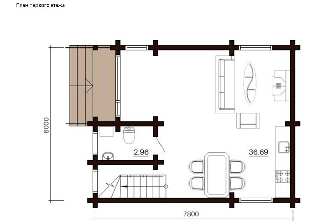 Дом деревянный из клеёного бруса , площадь 84 м²